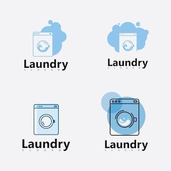 Logo de machine à laver de blanchisserie avec le cercle pour votre icône d'affaires de blanchisserie