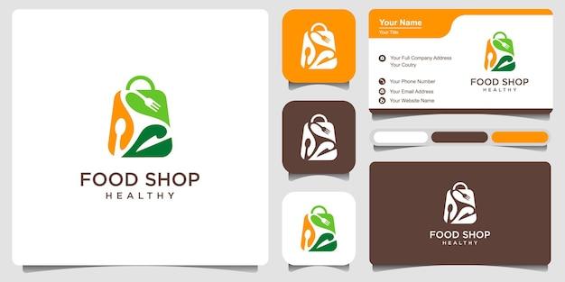 Logo de magasin d'alimentation écologique et logo d'aliments sains. cuillère, fourchette, couteau combiné, avec forme de coeur et de feuille