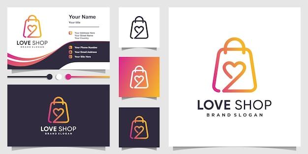 Logo de magasin d'amour avec concept abstrait créatif et conception de carte de visite