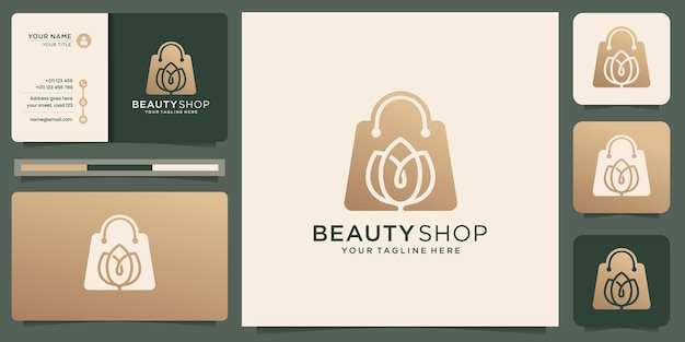 Logo de magasin de beauté créatif. concept unique rose avec design de sac avec inspiration de conception de carte de visite