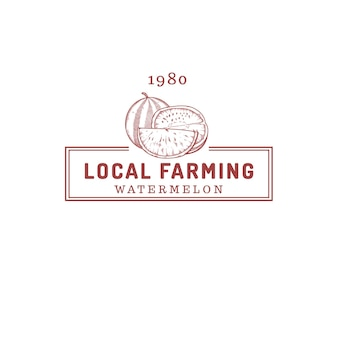 Logo de magasin de ferme de fruits de pastèque