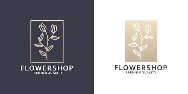 Logo de magasin de fleurs minimaliste pour fleuriste