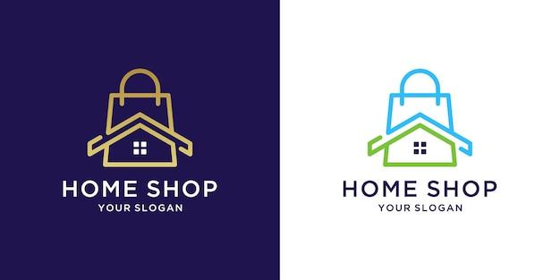 Logo de magasin de maison avec un design couleur or