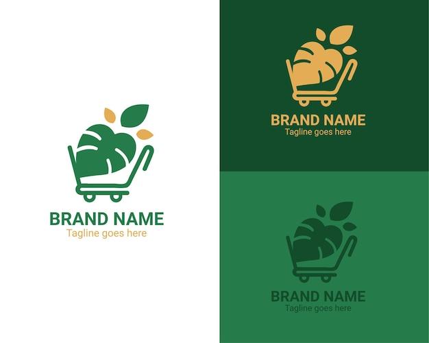 Logo de magasin de plantes avec panier