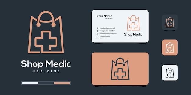 Logo de magasin de santé avec style d'art en ligne. inspiration de conception de logo de médecine.
