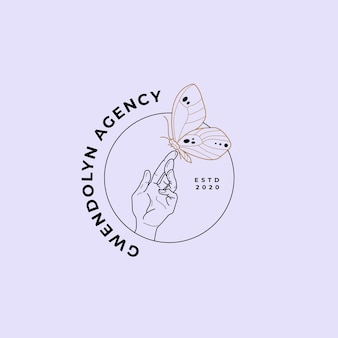 Logo magique de la lune et de la main