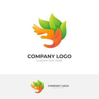 Logo de la main abstraite avec combinaison de modèles de conception de feuilles, style coloré 3d