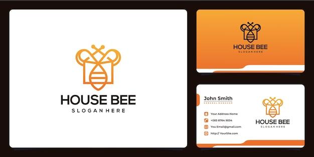 Le logo de la maison et de l'abeille se combine avec la conception de la carte de visite