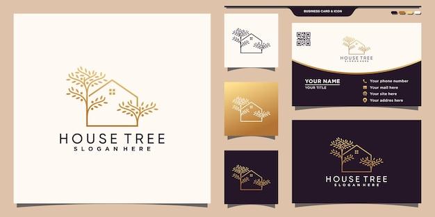 Logo de maison et d'arbre créatif avec un style d'art au ligne dorée et un design de carte de visite vecteur premium