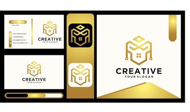Logo de la maison de l'architecture créative, logo de l'immobilier, collection de logos de la maison créative, ensemble de logos de la maison. illustrateur de vecteur avec des couleurs fantaisie