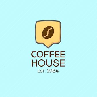 Logo de maison de café avec haricot isolé sur turquoise