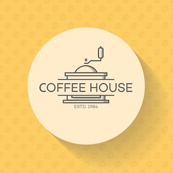 Logo de la maison de café avec machine à café sur haricot