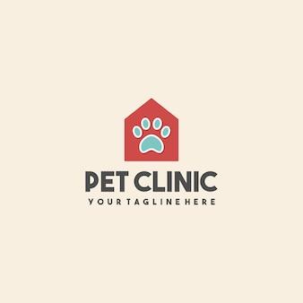 Logo de maison de clinique pour animaux de compagnie créative