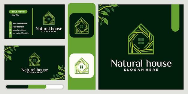 Logo de maison de combinaison de feuilles sertie de conception de concept de feuille de luxe création de logo de maison de nature