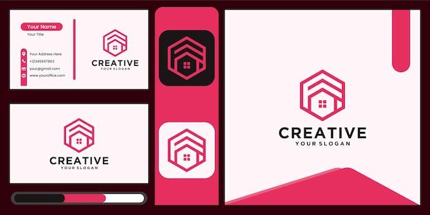 Logo de la maison créative, logo de l'immobilier, collection de logos de la maison créative, ensemble de logos de la maison. illustrateur de vecteur avec des couleurs fantaisie