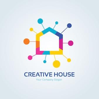 Logo de la maison créative, logo real esate, modèle de logo vectoriel