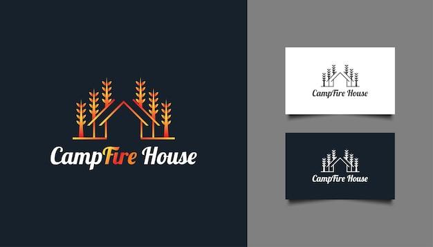 Logo de maison de feu de camp en dégradé orange avec style de ligne