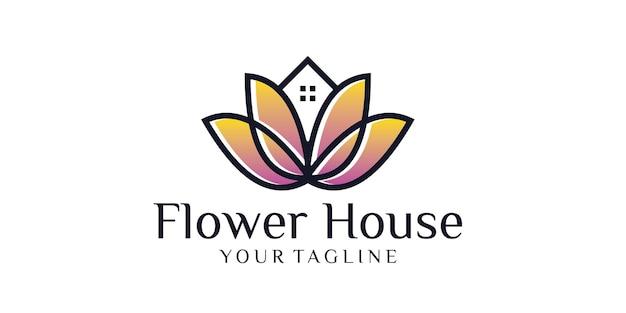 Logo de maison de fleur isolé sur blanc