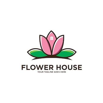 Logo de maison de fleur de lotus isolé sur blanc