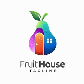 Logo de maison de fruits avec concept de poire