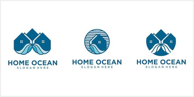 Logo de maison de ligne avec maison circulaire avec vagues de l'océan logo de maison de plage créative