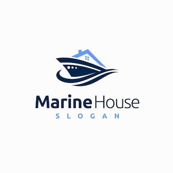 Logo de la maison marine avec concept de navire