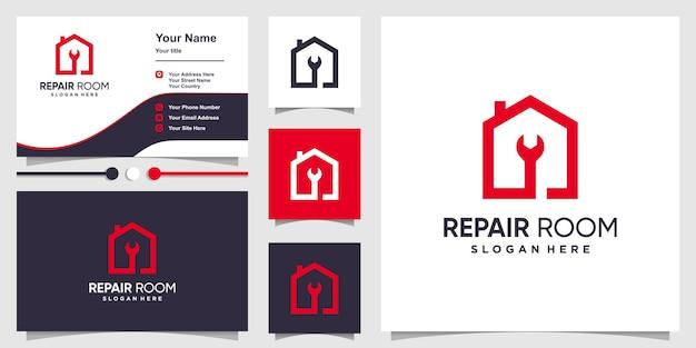 Logo de la maison mécanicien avec un style moderne créatif vecteur premium