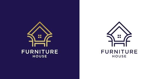 Logo de maison de meubles avec la conception d'or de couleur