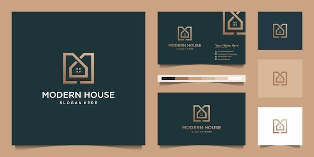 Logo maison moderne pour construction, maison, immobilier, bâtiment, propriété. modèle de conception de logo professionnel à la mode minimal impressionnant et conception de carte de visite