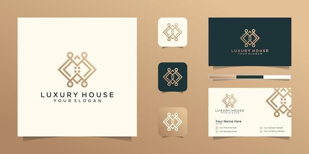 Logo maison moderne pour la construction, la maison, l'immobilier, le bâtiment, la propriété. modèle de conception de logo professionnel tendance génial minimal et conception de carte de visite