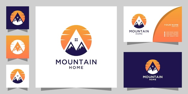 Logo de maison de montagne avec design coucher de soleil