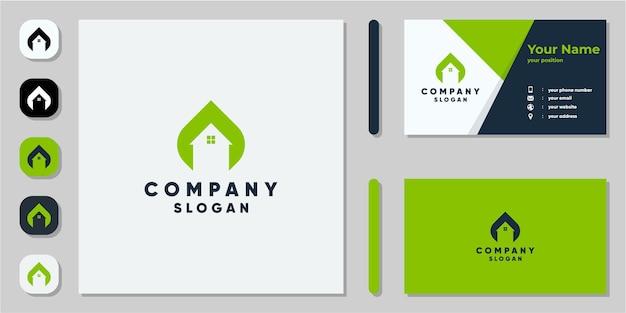 Logo maison naturel avec carte de visite
