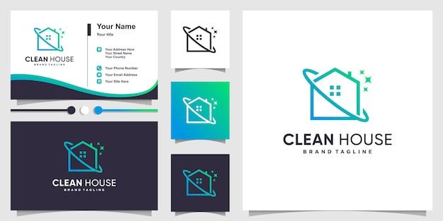Logo de la maison propre avec un style d'art au trait moderne et un design de carte de visite vecteur premium