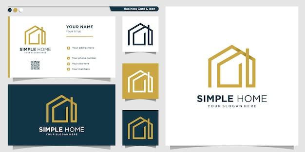 Logo de la maison avec résumé avec style d'art en ligne vecteur premium