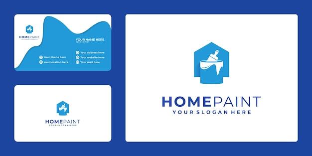 Logo à La Maison Avec Le Seau De Peinture De Combinaison, Carte De Visite Vecteur Premium