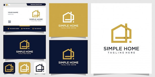 Logo de maison simple avec concept moderne et modèle de conception de carte de visite, maison, immobilier, bâtiment, simple