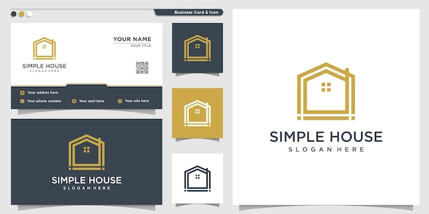 Logo de la maison avec un style d'art au ligne unique et simple et une conception de carte de visite vecteur premium