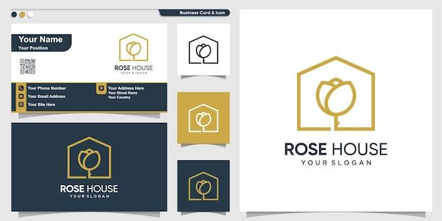 Logo de la maison avec un style d'art de ligne de fleur moderne et un modèle de conception de carte de visite vecteur premium