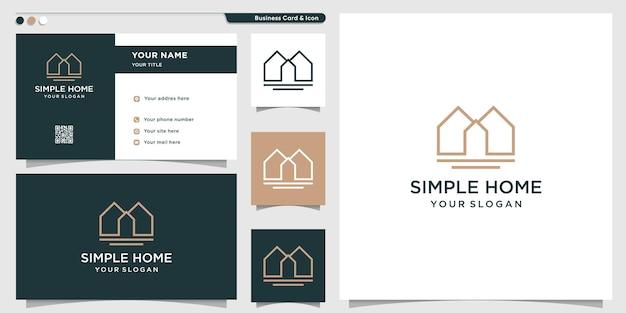 Logo de la maison avec un style d'art de ligne moderne créatif vecteur premium