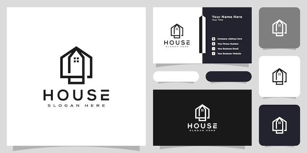 Logo de la maison avec style d'art en ligne. résumé de construction de maison pour la conception de logo et de carte de visite