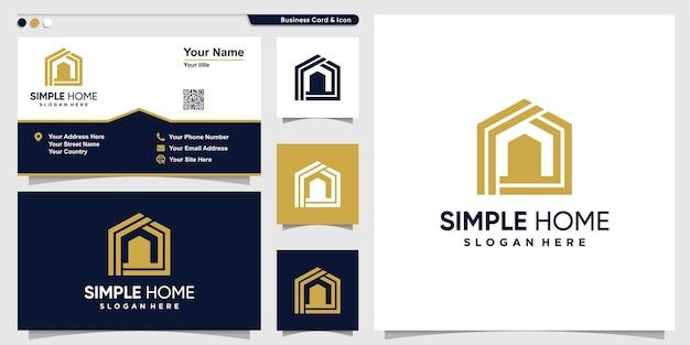Logo de la maison avec un style de contour simple vecteur premium