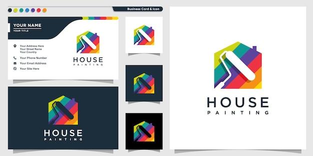 Logo maison avec style de peinture couleur et modèle de conception de carte de visite