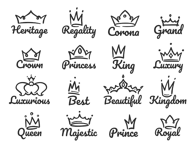 Logo majestueux de couronne. croquis prince et princesse, signe de reine dessiné à la main ou roi couronnes ensemble d'illustration graffiti
