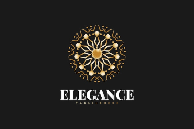 Logo de mandala doré isolé sur fond noir. convient pour les logos de spa, d'immobilier, d'hôtel ou de complexe hôtelier
