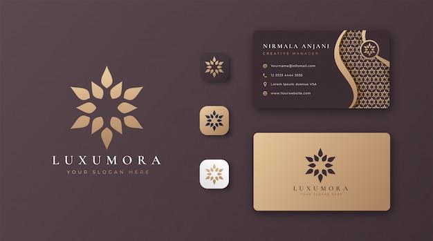 Logo de mandala doré de luxe avec carte de visite