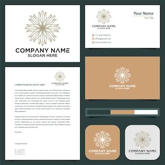 Logo de mandala de fleur abstraite vecteur premium et carte de visite