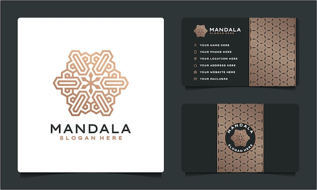 Logo de mandala de luxe ornemental et carte de visite