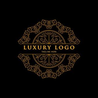 Logo mandala or géométrique de luxe