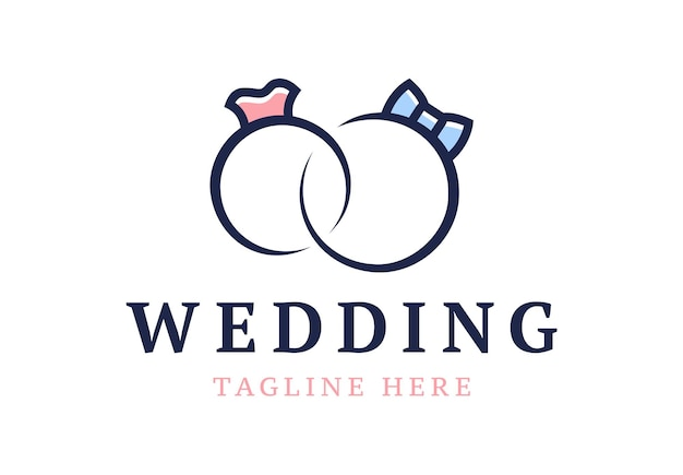 Logo de mariage. anneaux de mariage mignons fiançailles stylisées.