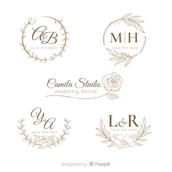 Logo de mariage dessiné à la main collectio